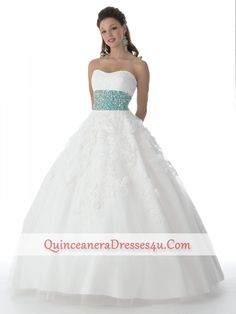 Discount 2012 Pretty Ball gown Strapless Floor-length Quinceanera Dresses Style 6112