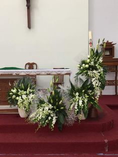 Church Flower Arrangements, Church Flowers, Altar Decorations, Wedding Flowers, Weddings, Plants, Home Decor, Floral Arrangements, Embellishments