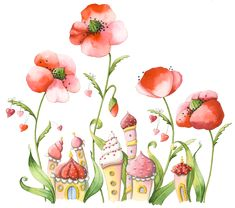 Afbeeldingsresultaat voor nina chen happy new year Drawing For Kids, Art For Kids, Whimsical Art, Cute Illustration, Cute Art, Poppies, Watercolor Paintings, Decoupage, Art Drawings