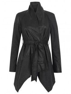 Muubaa Malabo Leather / Wool Swing Coat in Black