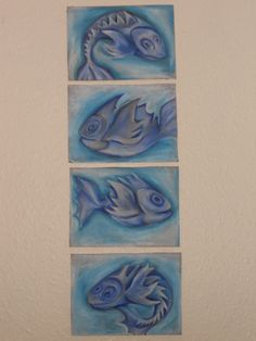 fish in oil pastel and carton