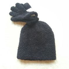 f698c2eadd4 Faded Glory Girl s One Size Rich Black Chenille Beanie  amp  Gloves Winter  Set NWT
