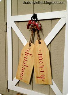 Merry Christmas wooden door tags Ballard knockoff
