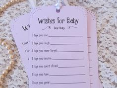 Set of 25 Baby Shower Wishing Tree Tags - Wishes for Baby Lavender Girl. $11.99, via Etsy.