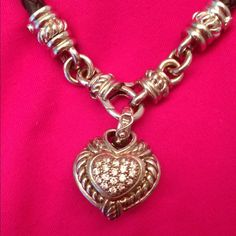 JUDITH RIPKA NECKLACE  .   LEATHER BRAIDED CORD NECKLACE  with magnetic  sterling silver closer. Jewel pave diamond heart shaped enhancer and reversible for 2 separate looks.  GREAT GIFTBeautiful jewelry JUDITH  RIPKA Accessories
