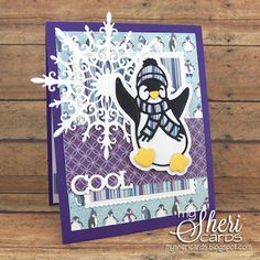 Tonic Studios Happy Penguin card featuring Christmas Rococo Petite Happy Penguin die, Christmas Rococo Winter Snowflake die, Mixed Edge Rectangle Layering Basics die & Miniature Moments Awesome Cool & Sweet sentiment die - designed by Sheri Holt Cute Christmas Cards, Xmas, Happy Penguin, Studio Cards, Snowflake Cards, Diy Cards, Handmade Cards, Winter Nail Designs, Winter Cards
