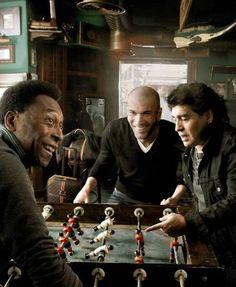 Three great football champions in a great challenge          #Pelé #Zidane #Maradona #cultstories #calcio #football #cult #stories #AnnieLeibovitz #biliardino #calcio #calcetto #sport #fun #divertimento #gioco #game #match #partita #trio #treesome