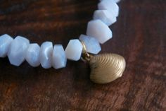 Beautiful blue lace agate bracelet with vintage brass clam charm. Blue Lace Agate, Clam, Gifts For Wife, Charmed, Stud Earrings, Brass, Bracelets, Beautiful, Vintage