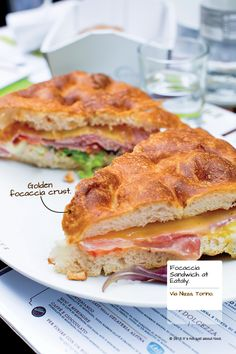 Focaccia sandwich at Eataly in Torino, Italy.