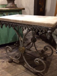 Antique French butchers table with marble top.  A unique rare small size.  @ leftovers, Brenham Texas. www.leftoversantiques.net