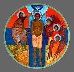 Baptism of Christ by Andrij Vynnychok, Ukrainian Religious Images, Religious Icons, Religious Art, Baptism Of Christ, Mary And Jesus, Byzantine Icons, Catholic Art, Orthodox Icons, Detail Art