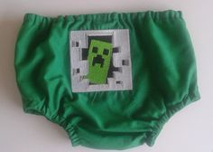 "Minecraft Creeper in Door Diaper Cover. Perfect for those baby ""blowouts"".  LOL"
