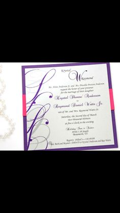 Layered Wedding Invitation accented with ribbon.  Custom colors available.  Contact for more information: info@theinviteonline.com
