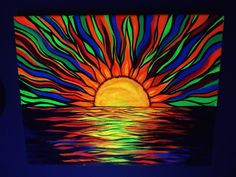 Trippy Painting, Neon Painting, Acrylic Painting Flowers, Painting & Drawing, Black Background Painting, Trippy Designs, Black Canvas Paintings, Hippie Art, Diy Canvas Art