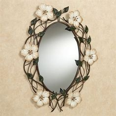 Magnolia Floral Oval Wall Mirror