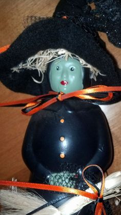 Mrs. Butterworth Jar Halloween Witch --can also make them into a Mammie, farm girl, clown, Mrs. Clause, a Pilgrim lady and I have seen them as the three Wise men at Christmas ...