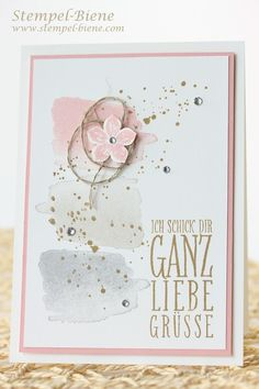Grußkarte mit Stampin' Up Happy Watercolor, Stampin' Up Wimpeleien, Stampin' Up Gorgeous Grunge, Stampin' Up Petite Petals, Stampin' Up Sammelbestellung