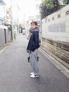 武智志穂さんのライダースジャケット「thpry+color ラムレザーライダース」を使ったコーディネート