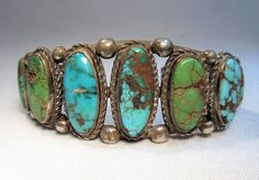 Vintage Heavy Navajo OLD PAWN Sterling Silver Multicolor Turquoise Bracelet C748 #Unbranded