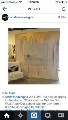 Painting Bathroom Walls, Diy Wall Painting, Drip Painting, Wall Art, Gold Painted Walls, Gold Walls, Accent Wall Bedroom, Bedroom Decor, Bungalow Bedroom
