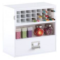 Desktop Craft Organizer: White painted finish Includes a drawer and a removable marker holder Constructed of durable, high quality MDF fiberboard Assembly required Material conform to CARB regulation Pen compartment dimension: 1.75 in W x 6 in D x 1 in H Pen cubby dimension: 13.5 in W x 6 in D x 4.375 in H Middle shelf compartment dimension:13.5 in W x 6.625 in D x 4.5 in H Drawer inside dimension: 12.875 in W x 6 in D x 3.75 in H