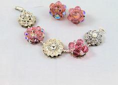 Pink cluster earring bracelet vintage crystals by madebysheri, $36.00