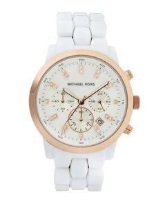 Rose Golden & White Watch by Michael Kors at Last Call by Neiman Marcus.