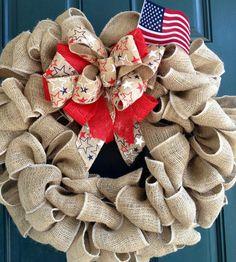 Stars Burlap Wreath - 4th of July- Patriotic. $60.00, via Etsy.