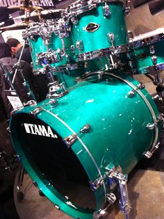 Beautiful drum Set - turquoise green - blue TAMA drumkit with silver hardware. RESEARCH DdO:) MOST POPULAR RE-PINS - http://www.pinterest.com/DianaDeeOsborne/drums-drumming-joy/ - DRUMS & DRUMMING JOY. Tama brand drumkits are manufactured by Japanese musical instrument company, Hoshino Gakki. Drums destined for U.S. market are assembled and stocked in Bensalem, Pennsylvania USA. #band #music