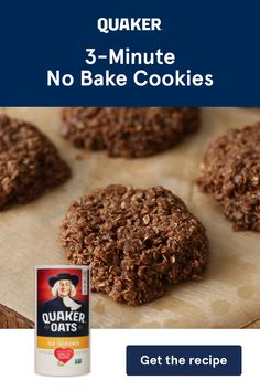 These easy, four ingredient, No-Bake Cookies are perfect for a quick bite. Just add Quaker Oats, sugar, butter and cocoa powder. Candy Recipes, Baking Recipes, Sweet Recipes, Cookie Recipes, Dessert Recipes, Healthy Recipes, Easy Desserts, Delicious Desserts, Yummy Food