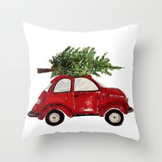 Red Christmas Beetle  Throw Pillow by Craftberrybush