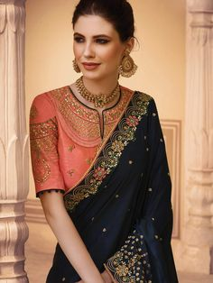 7a500f38c2 Dark Navy Blue Color Barfi Silk Fabric Heavy Saree – Vastravibe