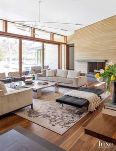 Modern Neutral Living Room with Mirrored Coffee Table