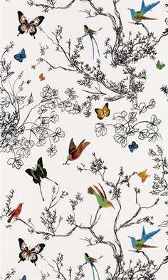 Schumacher Wallpaper Birds Design #modernwallpaper