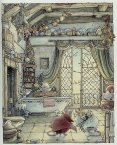 An illustration by Jill Barklem, most popular for her Brambly Hedge series. Reminiscent of Beatrix Potter!