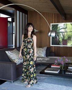 Actress Robin Tunney at home in Los Angeles, CA. Robin in the living room. Published image.