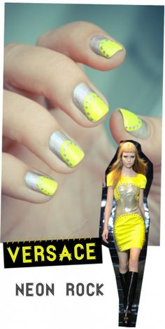 Versace Neon Rock Manicure inspired by Fall 2012 C - http://yournailart.com/versace-neon-rock-manicure-inspired-by-fall-2012-c/ - #nails #nail_art #nails_design #nail_ ideas #nail_polish #ideas #beauty #cute #love