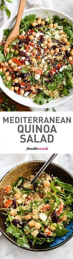 This healthy quinoa salad is one of the easiest you'll make thanks to staples from your fridge and pantry. All clean eating ingredients are used for this protein packed salad recipe. Make this healthy salad for lunch or a light dinner. Mediterranean Quinoa Salad, Mediterranean Diet Recipes, Vegetarian Recipes, Cooking Recipes, Healthy Recipes, Cooking Tips, Avocado Recipes, Quinoa Salad Recipes, Kale Recipes