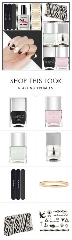 """""""Geometric Nail Art"""" by juliehalloran ❤ liked on Polyvore featuring beauty, Nails Inc., MAC Cosmetics and Kate Spade"""