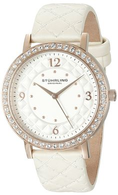 Stuhrling Original Women's 'Audrey 786' Quartz Stainless Steel and Leather Dress Watch, Color:White (Model: 786.03) * Remarkable product available now. (This is an amazon affiliate link. I may earn commission from it)