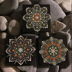 For sale a set of 3 hand-painted Mandalas, each on a 4x4 canvas. Painted with high-quality acrylic paints, with a gloss acrylic finish for protection. Colors in these Mandalas are Green and Orange. They can be hung on a wall or displayed on a stand. Each one is hand made and no
