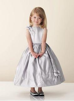 Forme Princesse Col rond Longueur cheville Satiné Robe de demoiselle d'honneur - fillette avec Broderie Emperler