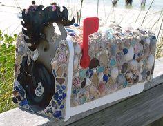 Artisan Crafted Mermaid Seashell Beach Glass Sand Mailbox~Beach House