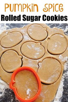 A rolled sugar cookie dough recipe that has a hint of pumpkin and pumpkin spice…. A rolled sugar cookie dough recipe that has a hint of pumpkin and pumpkin spice. Easy to make and perfect for Fall, Halloween and Thanksgiving. Rolled Sugar Cookies, Sugar Cookie Dough, Roll Cookies, Cookies Et Biscuits, Cookie Dough Recipes, Pumpkin Spice Sugar Cookies Recipe, Pumpkin Sugar Cookies Decorated, Candied Pumpkin Recipe, Easy Pumpkin Cookies