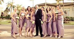 #Bridesmaids in light #purple #dresses! #Wedding #portrait of the #groom and the #bridesmaids by #DominoArts #Photography (www.DominoArts.com)