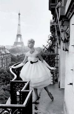 fashion photography #black & white #paris - Mannequin a la Tour Eiffel, 1958, by Christian Lemaire