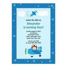 Little Pilot Airplane Birthday Party Invitation