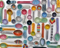 Items similar to Brightly Colored Art Print- Spoons- Photograph of Ceramic Spoons by chARiTy elise on Etsy Ceramic Spoons, Ceramic Clay, Ceramic Pottery, Pottery Art, Slab Pottery, Pottery Studio, Ceramics Projects, Clay Projects, Paperclay