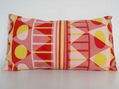 Screen Printed Handmade Rectangular Cushion by GeometricRamblings, Cushion Pads, Screen Printing, Feather, Cushions, Throw Pillows, Yellow, Printed, Red, Fabric