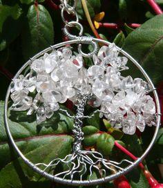 Silver and Quartz Tree of Life Pendant w by HeatherJordanJewelry, $24.99